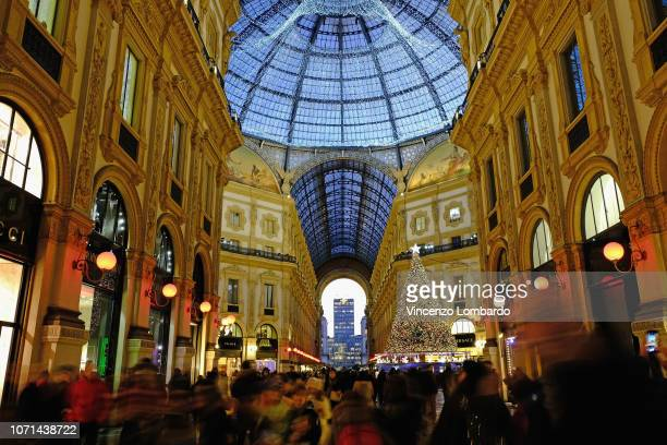 A general view of Christmas atmosphere in Galleria Vittorio Emanuele on December 10 2018 in Milan Italy