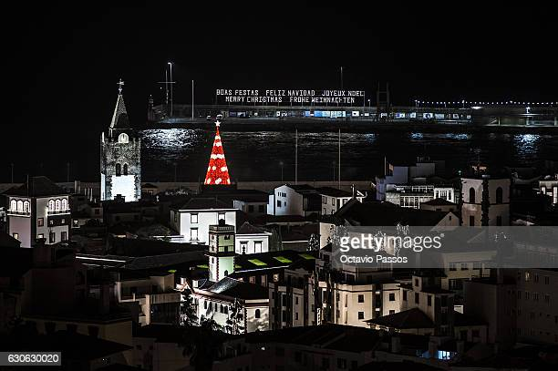 General view of Christmas city lights and for the cathedral from Funchal has been classified as a National Monument since 1910, and constitutes the...