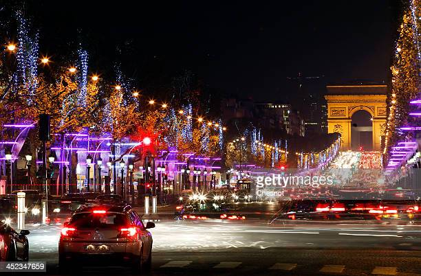 General view of Christmas illuminations on the Champs Elysees, on November 27, 2013 in Paris, France. Until January 8 Parisians and visitors from...