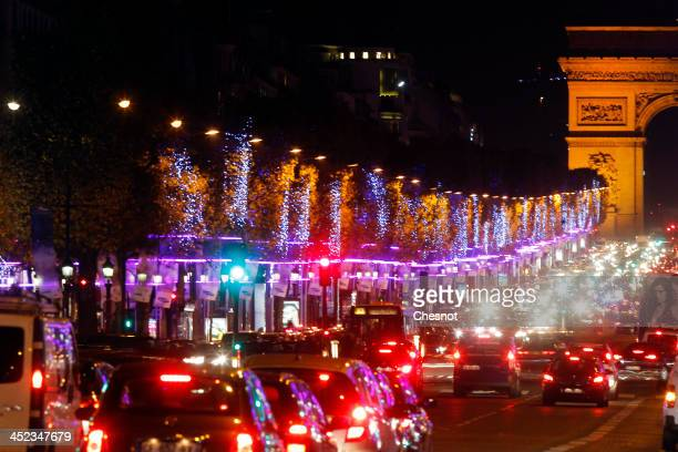 A general view of Christmas illuminations on the Champs Elysees on November 27 2013 in Paris France Until January 8 Parisians and visitors from...