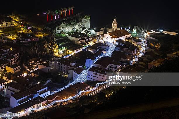 General View of Christmas lights on the small fishing village of Câmara de Lobos on December 29, 2016 in Camara de Lobos, Madeira, Portugal.