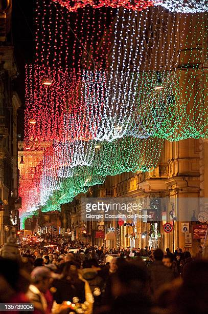 General view of Christmas lights showing the Italian flag colours in the downtown area on December 13 2011 in Rome Italy