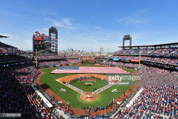 A general view of Citizens Bank Park during the national anthem before the game between the Philadelphia Phillies and the Atlanta Braves on Opening...