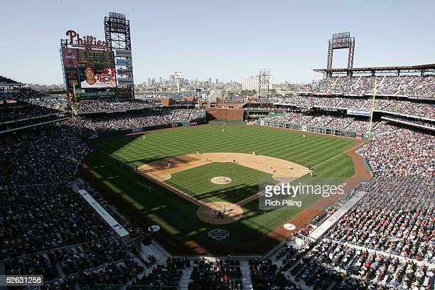General view of Citizens Bank Park during the Opening Day game between the Washington Nationals and the Philadelphia Phillies at Citizens Bank Park...