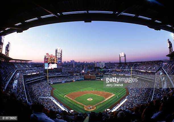 General view of Citizens Bank Park from behind home plate upper level at dusk during a game between the Montreal Expos and the Philadelphia Phillies...