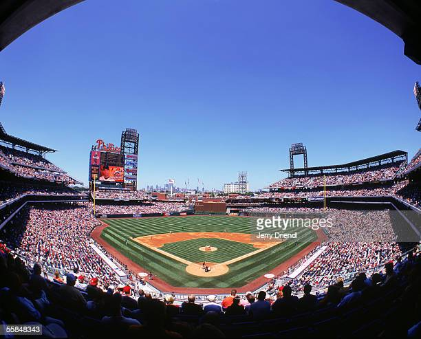 General view of Citizens Bank Park from behind home plate upper level as the Philadelphia Phillies host the New York Mets on June 23 2005 in...