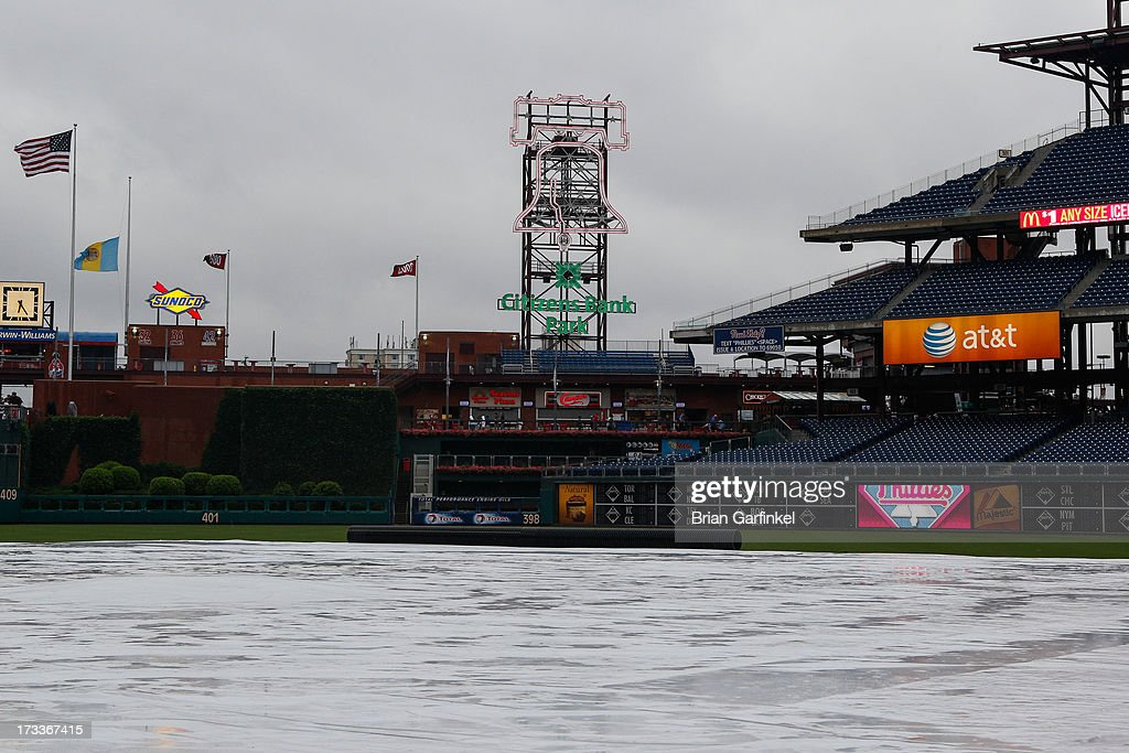 A General view of Citizens Bank Park in the rain after game was postponed due to weather between the Chicago White Sox and the Philadelphia Phillies on July 12, 2013 in Philadelphia, Pennsylvania.