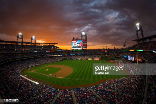 General view of Citizens Bank Park in the top of the second inning during the game between the Washington Nationals and Philadelphia Phillies on...