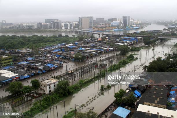 A general view of city and railway track during heavy rain showers in Mumbai India on September 4 2019