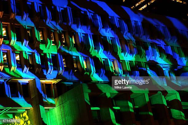 A general view of City Hall as designs are projected during Boston Calling Music Festival Day 1 at Boston City Hall Plaza on May 22 2015 in Boston...