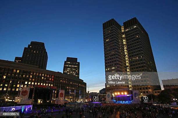 A general view of City Hall Plaza as Of Monsters and Men prepare to perform onstage during day one of the Boston Calling Music Festival at Boston...