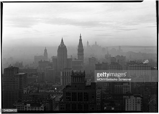 General view of city showing the Hudson River the Metropolitan Life Insurance Company Headquaters and the Madison Square Hotel Metropolitan Life...