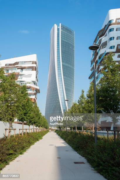 General view of CityLife district in Milan on September 24 2017 CityLife is a residential commercial and business district under construction in a...