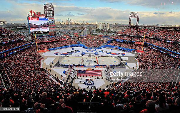 A general view of Citzens Bank Park prior to the start of the 2012 Bridgestone NHL Winter Classic on January 2 2012 at Citizens Bank Park in...