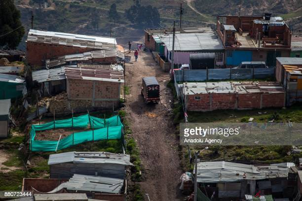 General view of Ciudad Bolivar, a rural area difficult to access, in Bogota, Colombia on November 27, 2017. Colombia has one of the largest...