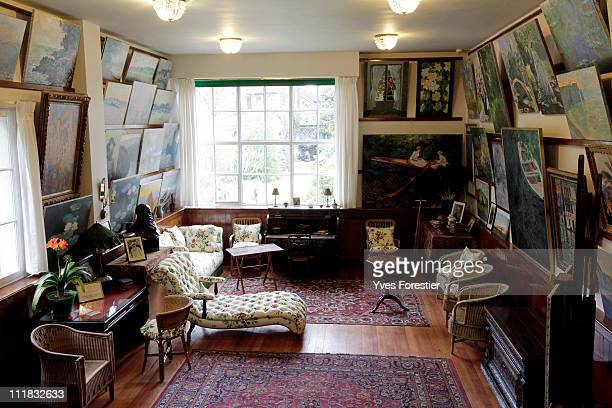 A general view of Claude Monet's painting studio in his Giverny house following a restoration project on April 4 2011 in Giverny France The studio...