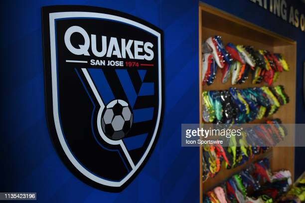 A general view of cleats hanging in the home dressing room prior the MLS match between the Portland Timbers and the San Jose Earthquakes at Avaya...