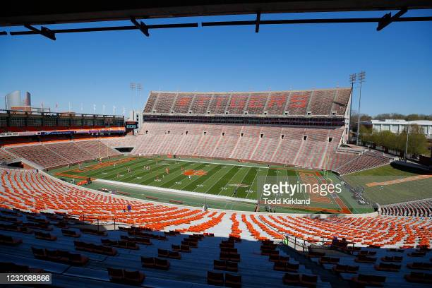 General view of Clemson Memorial Stadium prior to the Clemson Orange and White Spring Game at Memorial Stadium on April 3, 2021 in Clemson, South...