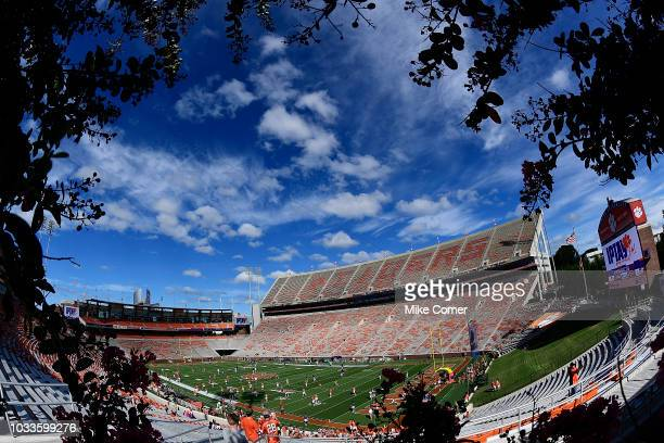 A general view of Clemson Memorial Stadium prior to the start of the Clemson Tigers' football game against the Georgia Southern Eagles on September...