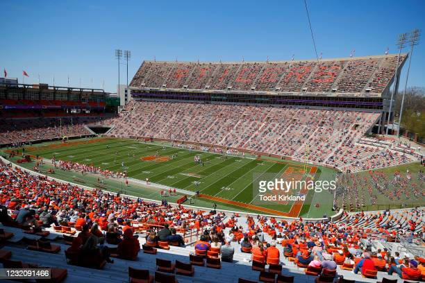 General view of Clemson Memorial Stadium with fans in attendance during the Clemson Orange and White Spring Game at Memorial Stadium on April 3, 2021...
