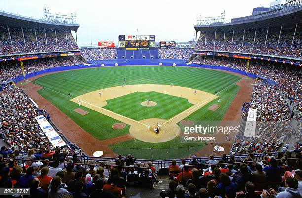A general view of Cleveland Municipal Stadium during a game on May 17 1992 in Cleveland Ohio
