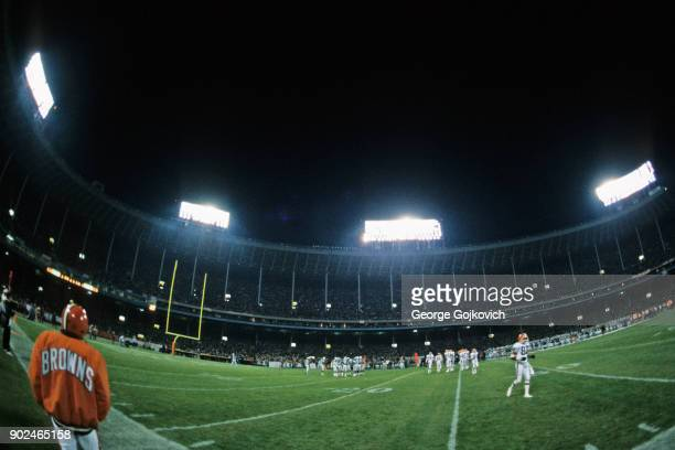 A general view of Cleveland Municipal Stadium during a Monday Night Football game between the Miami Dolphins and Cleveland Browns on November 10 1986...
