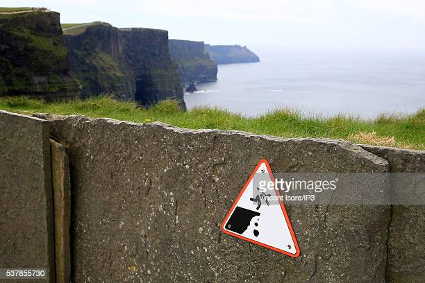 General view of Cliffs of Moher the famous natural site on the Irish Atlantic coast on April 21 2016 in Liscannor Ireland Illustrative picture of the...