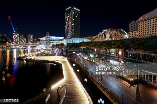 General view of closed restaurants in Darling Harbour due to Covid-19 on June 26, 2021 in Sydney, Australia. Lockdown restrictions have come into...