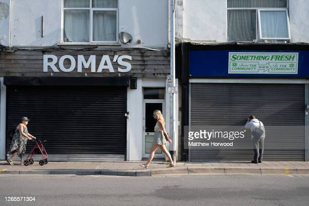 General view of closed shops on Cowbridge Road East on August 12, 2020 in Cardiff, Wales. The Office For National Statistics reported the UK's GDP...
