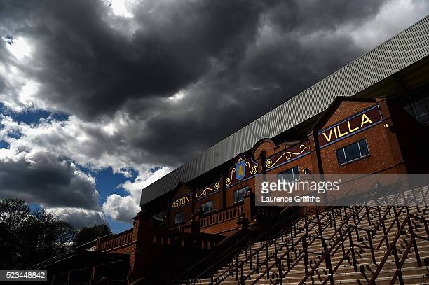 A general view of cloudy skies over the stadium prior to the Barclays Premier League match between Aston Villa and Southampton at Villa Park on April...