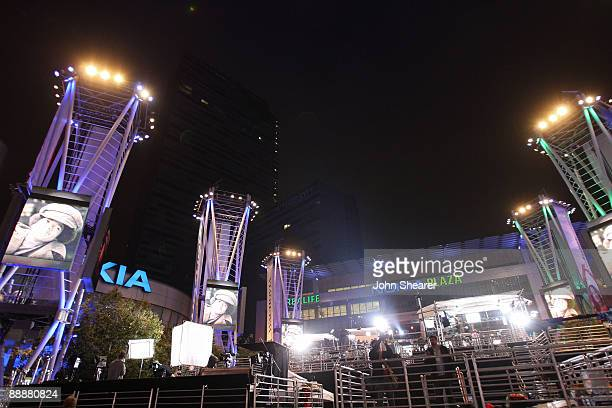 General view of Club Nokia across from the Michael Jackson public memorial service held at Staples Center on July 7, 2009 in Los Angeles, California....