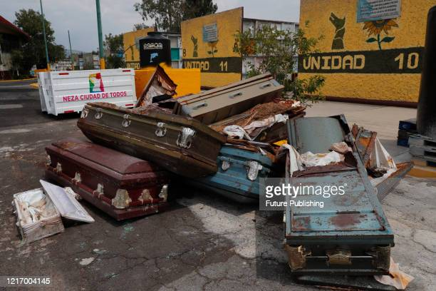 General view Of coffins stacked at Nezahualcoyotl cemetery amid the new Coronavirus pandemic on June 2 2020 In Mexico City Mexico PHOTOGRAPH BY Juan...