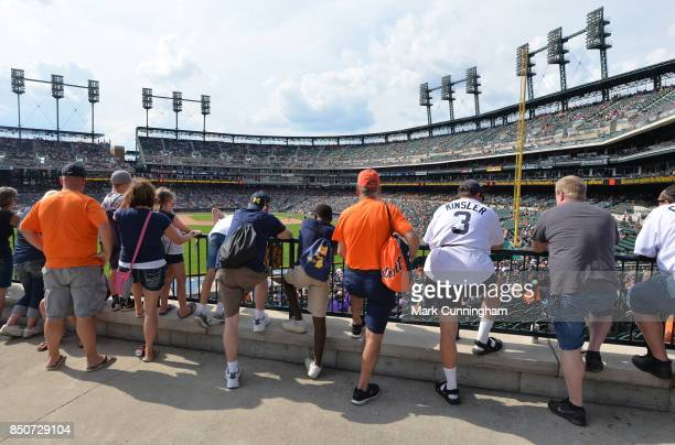 A general view of Comerica Park as fans watch the game from the outfield during the game between the Minnesota Twins and the Detroit Tigers at...