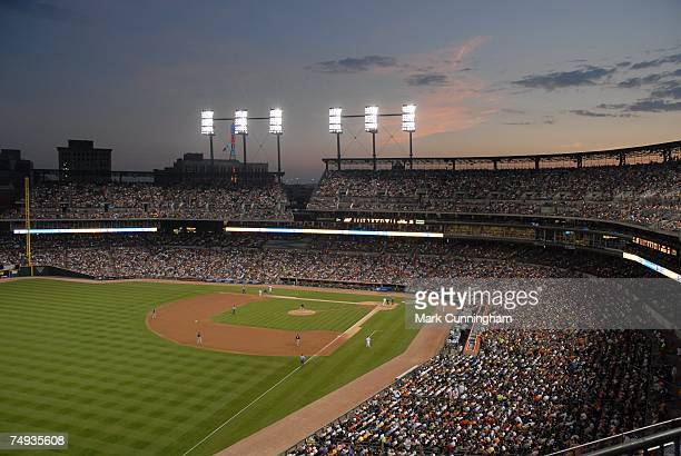 General view of Comerica Park at night during the game between the Detroit Tigers and the Milwaukee Brewers at Comerica Park in Detroit, Michigan on...