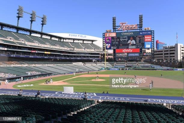 A general view of Comerica Park during the game between the Cleveland Indians and the Detroit Tigers at Comerica Park on September 20 2020 in Detroit...