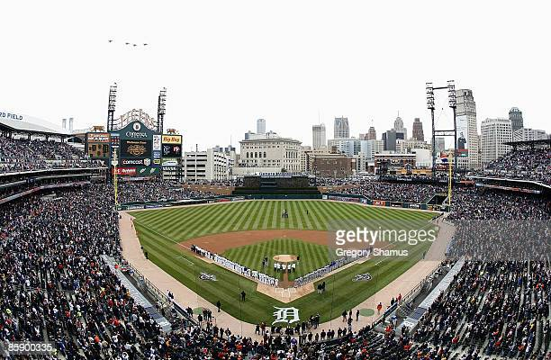 General view of Comerica Park during the National Anthem prior to the Opening Day game between the Detroit Tigers on Texas Rangers on April 10 2009...