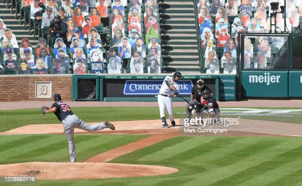 A general view of Comerica Park from centerfield as Jeimer Candelario of the Detroit Tigers bats with the seats behind him filled with cardboard...