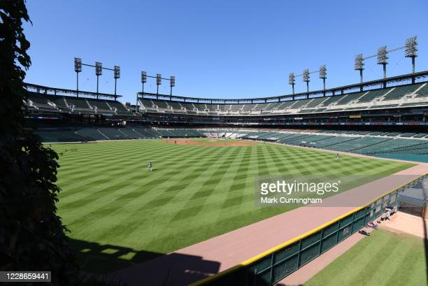 A general view of Comerica Park from centerfield during the game between the Cleveland Indians and the Detroit Tigers at Comerica Park on September...