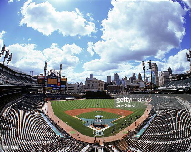 General view of Comerica Park from home plate upper level prior to the game between the Detroit Tigers and the San Diego Padres on June 16, 2005 in...