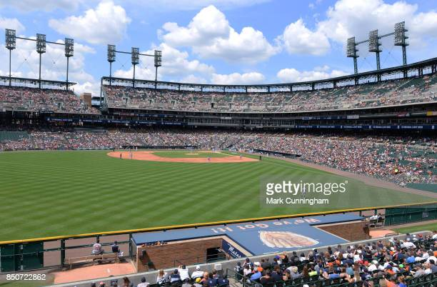 A general view of Comerica Park from the outfield during the game between the Minnesota Twins and the Detroit Tigers at Comerica Park on August 13...