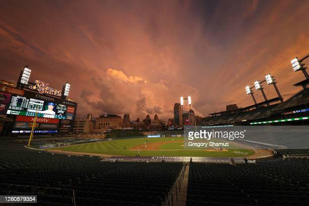 General view of Comerica Park in the fifth inning in a game between the Kansas City Royals and Detroit Tigers during the home opener at Comerica Park...