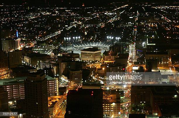 A general view of Comerica Park is seen in the middle of downtown Detroit after the Detroit Tigers defeated the Oakland Athletics 63 during Game Four...