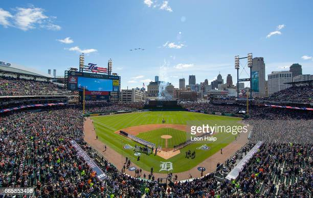 A general view of Comerica Park prior to the start of the opening day game between the Boston Red Sox and the Detroit Tigers on April 7 2017 at...