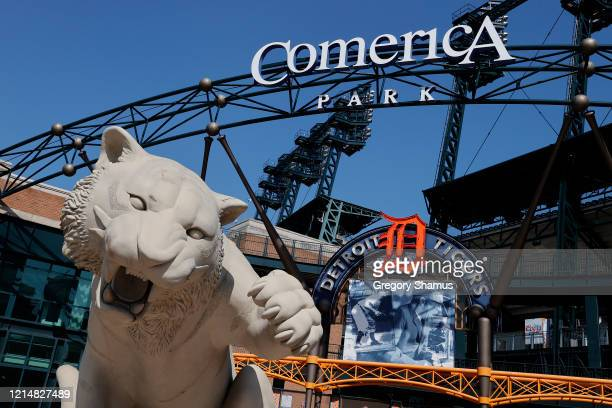 A general view of Comerica Park where the Detroit Tigers were scheduled to open the season on March 30th against the Kansas City Royals on March 25...