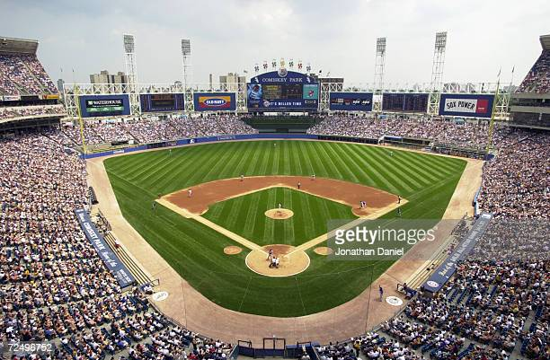 General view of Comiskey Park and the 45,351 in attendance looking out to straight away center field from above home plate as the Chicago Cubs take...