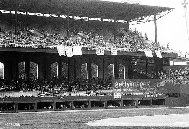 General view of Comiskey Park during an antidisco promotion where unfurled banners read such things as 'Disco Sucks' and 'Rock Rules' Chicago...