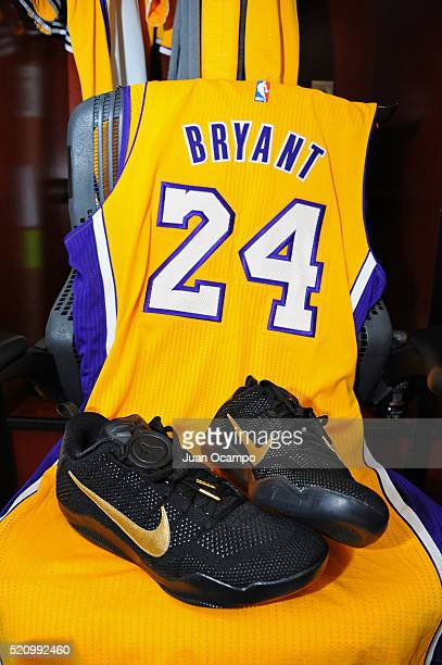 General view of commemorative Mamba Day sneakers in front of Kobe Bryant of the Los Angeles Lakers locker before the game against the Utah Jazz on...