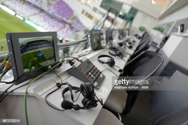 General View of commentator / media positions during the FIFA Club World Cup UAE 2017 play off match between Al Jazira and Auckland City FC at Hazza...