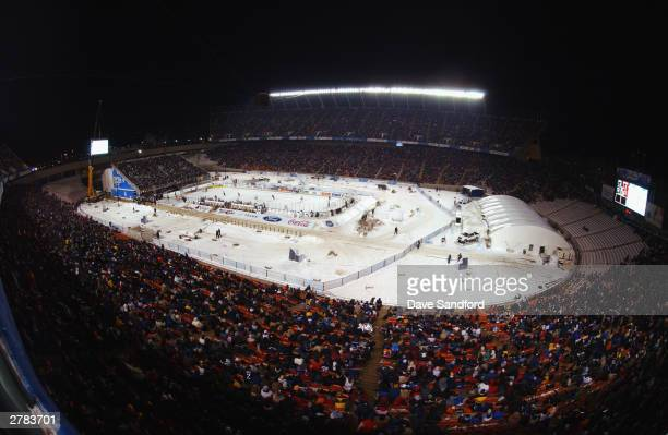A general view of Commonwealth Stadium for the game between the Edmonton Oilers and the Montreal Canadiens during the Molson Canadien Heritage...