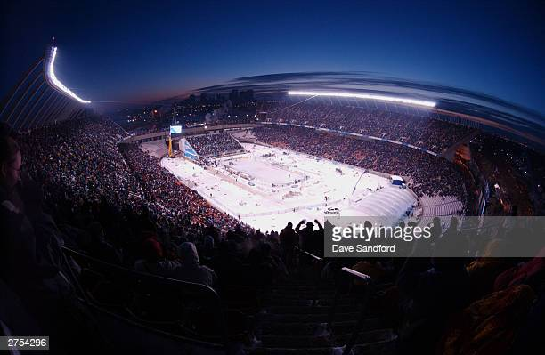 A general view of Commonwealth Stadium with downtown Edmonton in the background as the Montreal Canadiens take on the Edmonton Oilers during the...